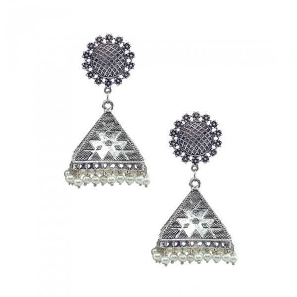 Oxidized Silver Jhumka Earrings with Pearl Beads