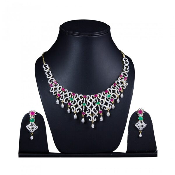 AD Necklace Choker Style with maroon Green Stones