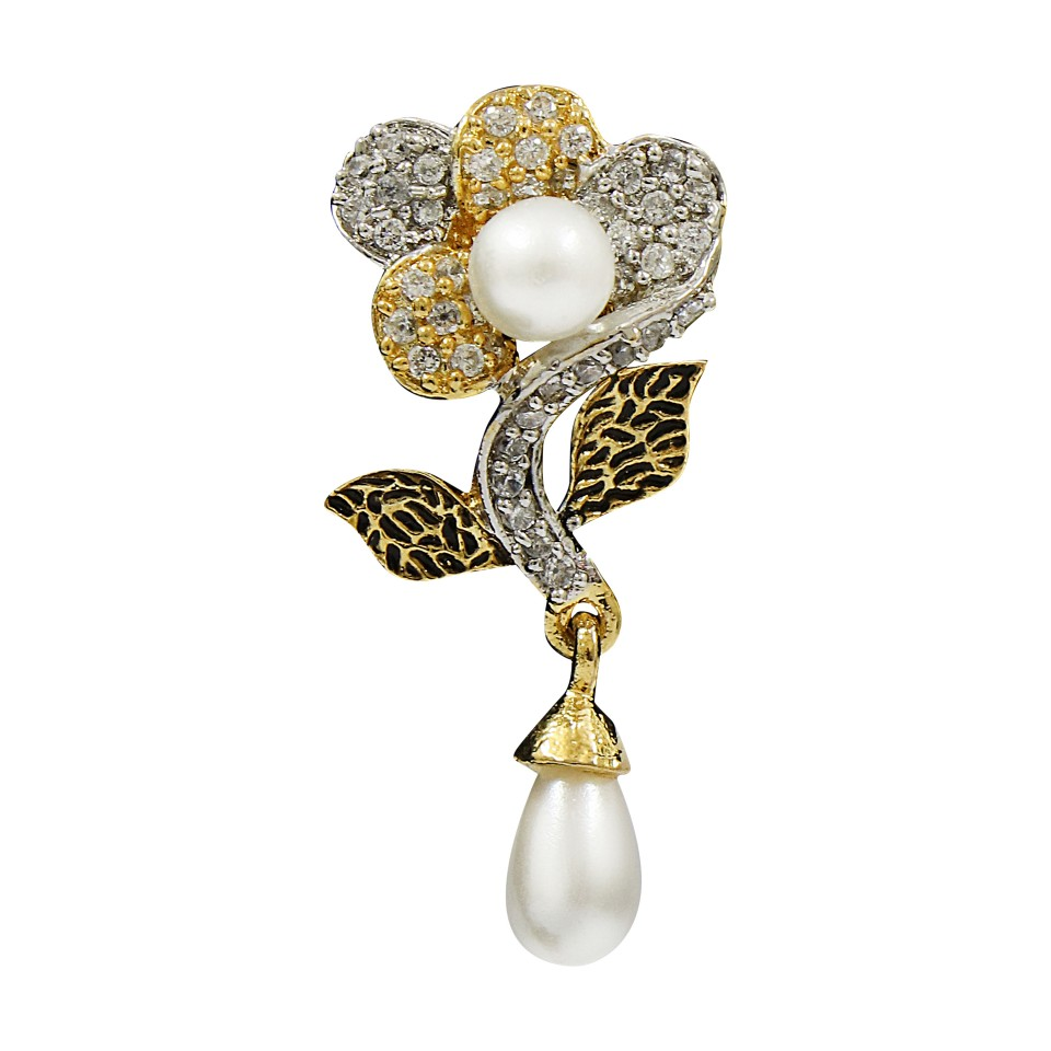 AD studded Floral Earring with Pearl