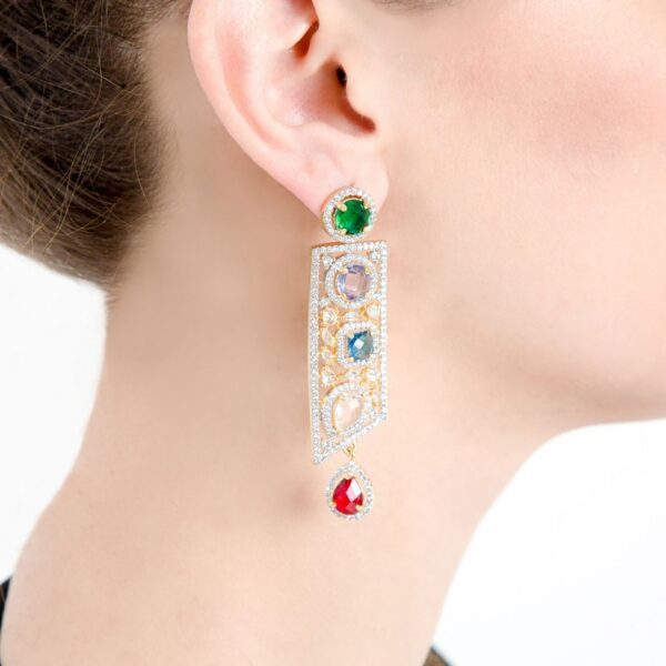 AD studded with colorful Stones laid rectangular designer earrings
