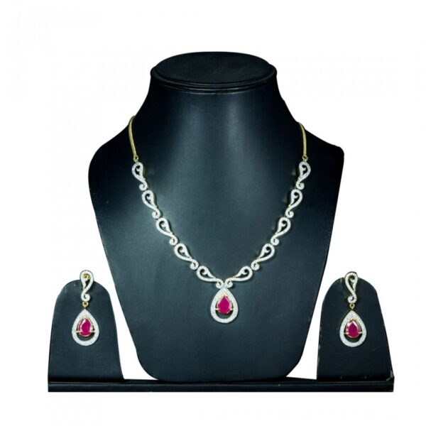 AD with semi precious Stones Necklace with Earrings