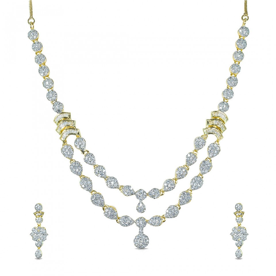 American Diamond studded with Double Layered Necklace with Earrings