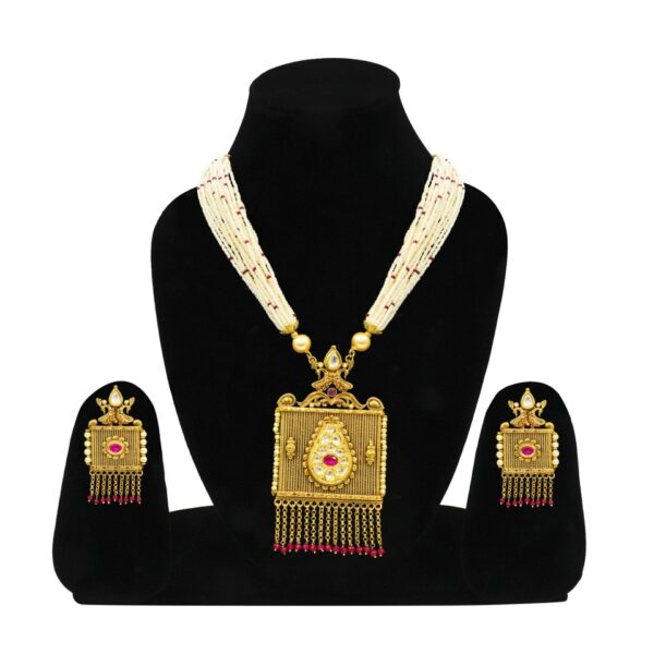 Antique Square style Stone studded Pendant Set with Earrings
