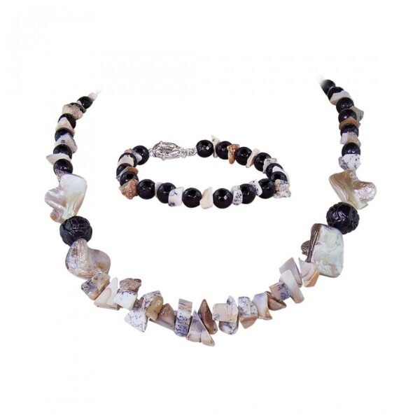 Black Jade beads & Fawn Dendrite String Necklace with shell pieces with Bracelet