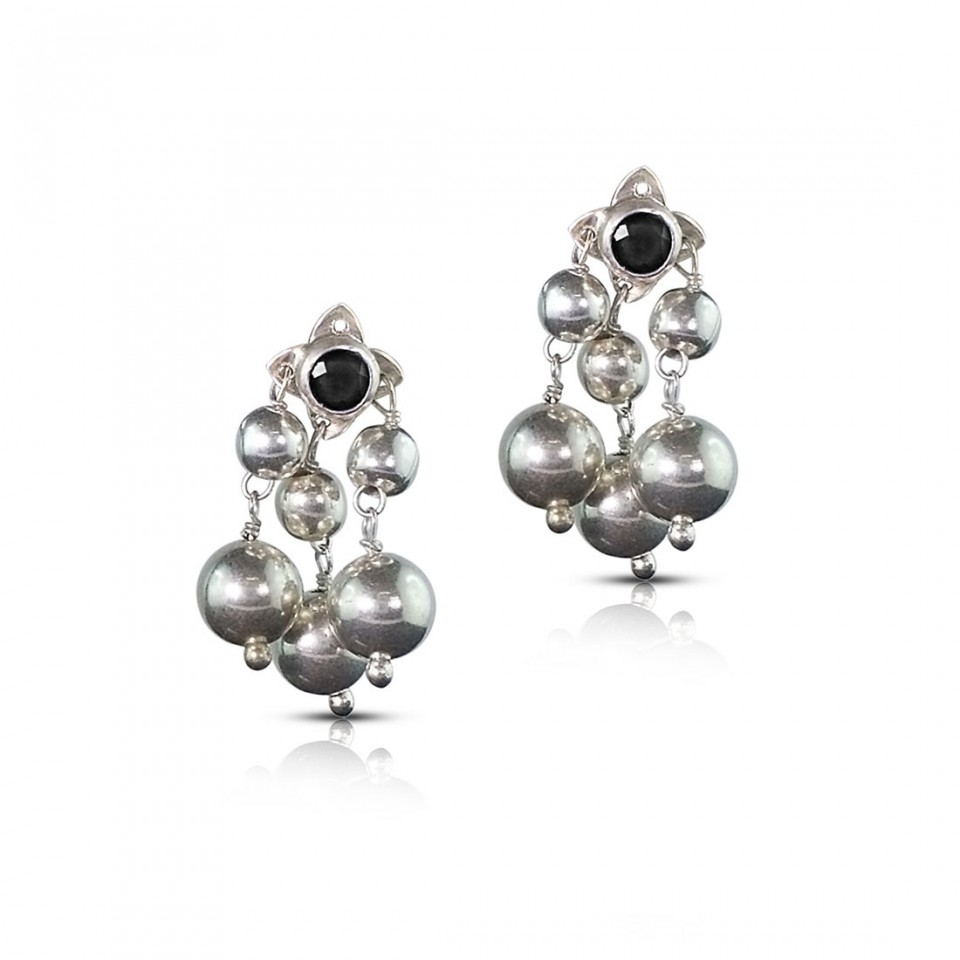Black Onyx Silver Earrings with Silver Balls