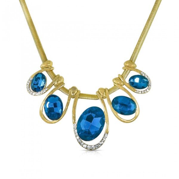 Blue Stone Blocks with Golden Thick Cord neck piece