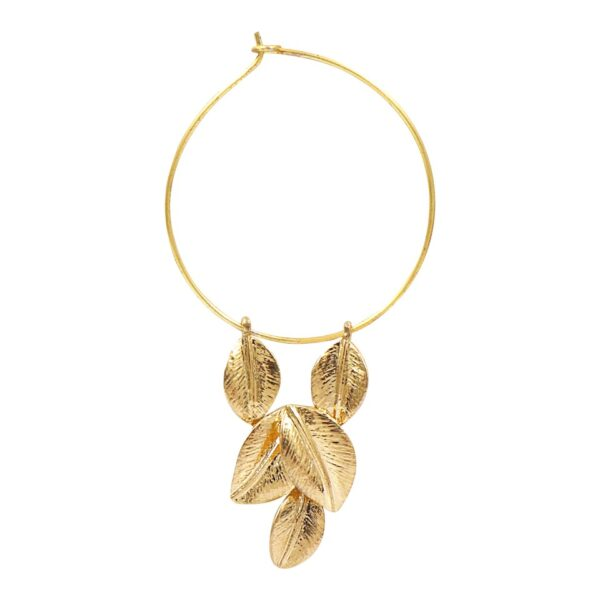 Brass Golden Color Hoop Earrings with hanging Leaves