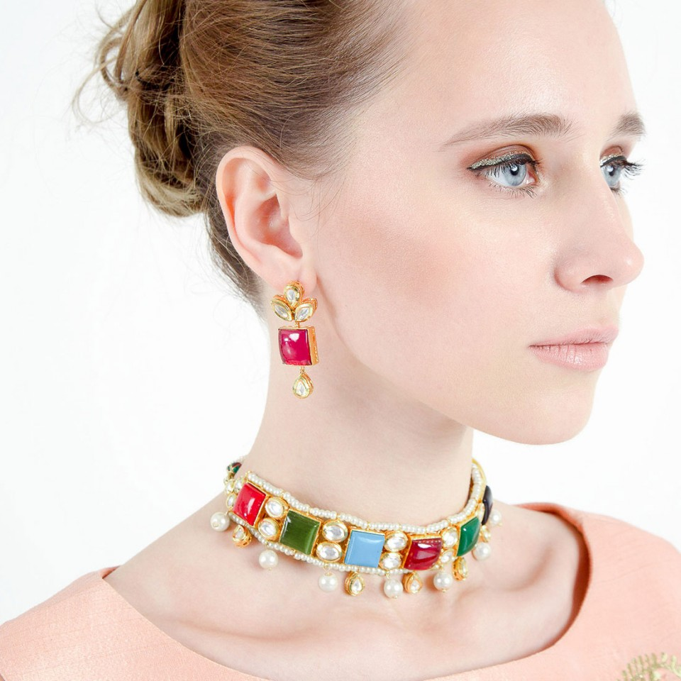 Colorful Stones kundan Choker Necklace with Earrings
