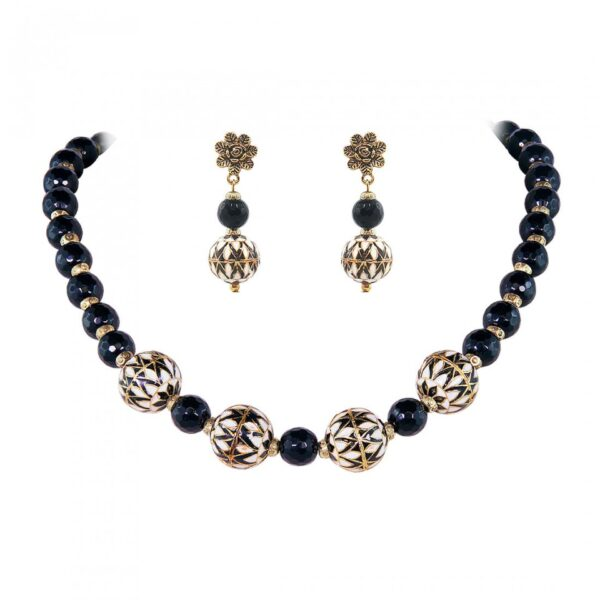Cut Glass Black Gemstone with Meena Balls Necklace with Earrings