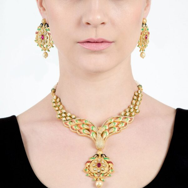 Designer Dancing Peacock Necklace with Earrings