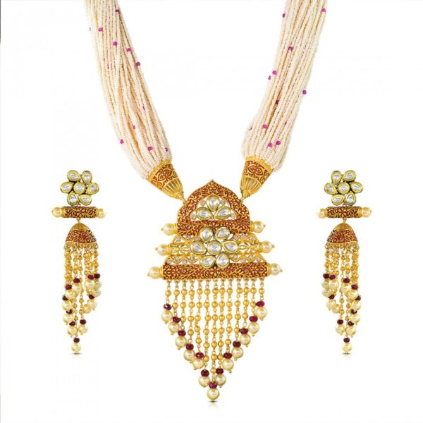 Designer Golden Red carving kundan studded Necklace with jhumkies