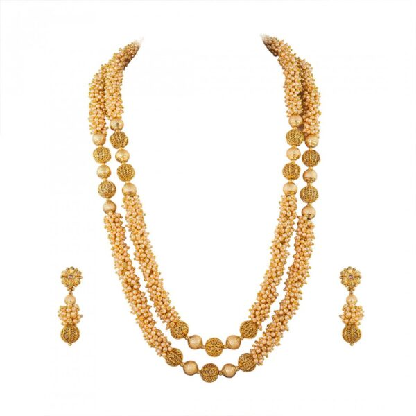 Double Layered Pearl Long Necklace with Earrings
