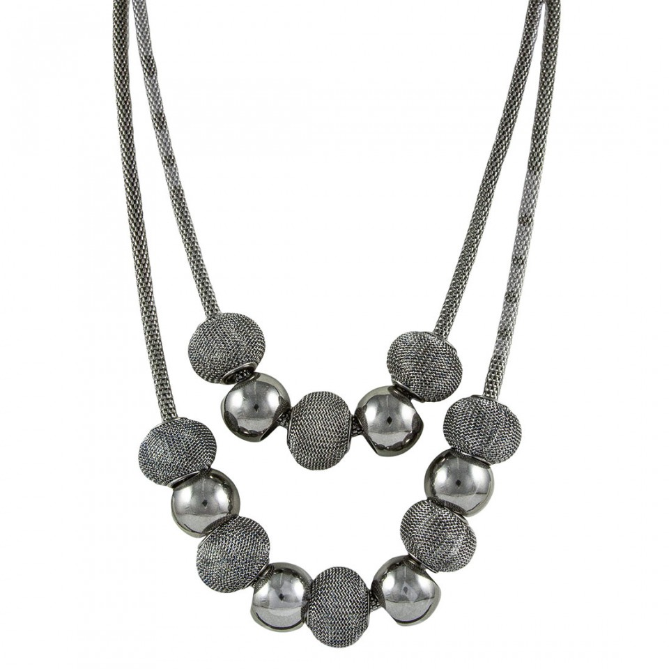 Double layer oxidized long Necklace chain