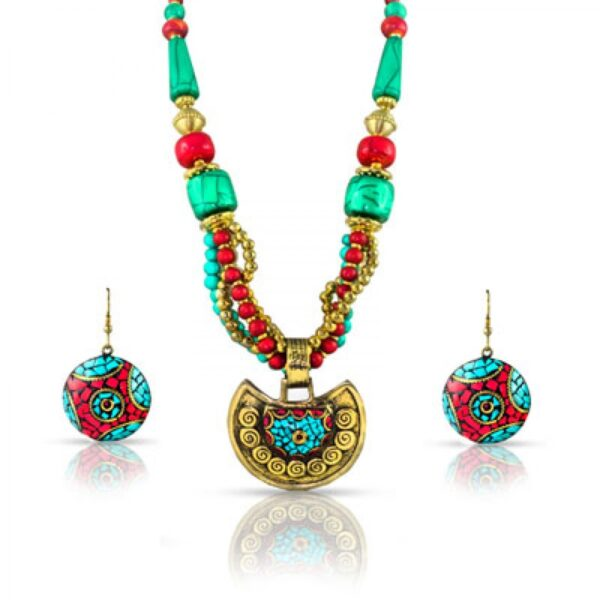 Froza with Metal & Resin Necklace With Earrings