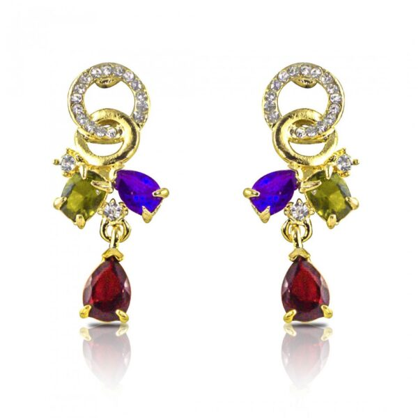 Gold Plated 18K Crystal Earrings - Multi Color