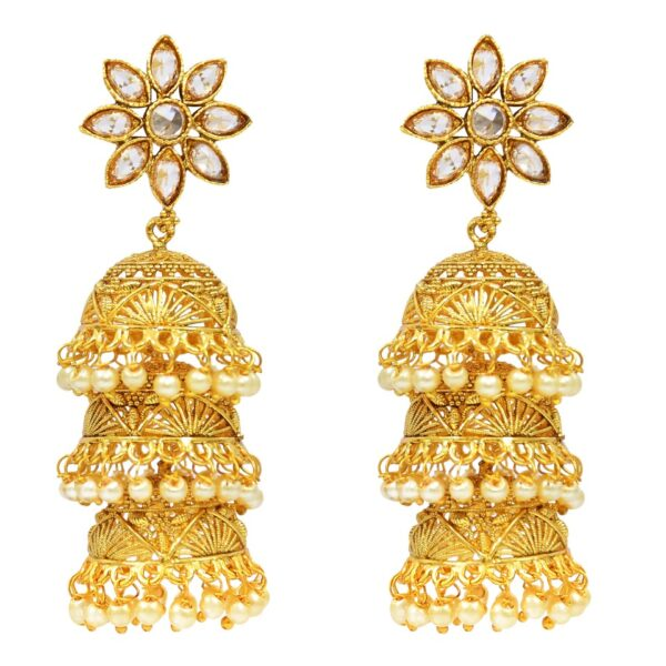 Gold Plated Triple layered Jhumkies
