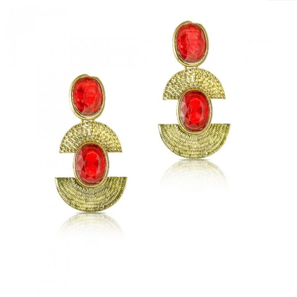 Gold plated Crystal Studded Red Earring