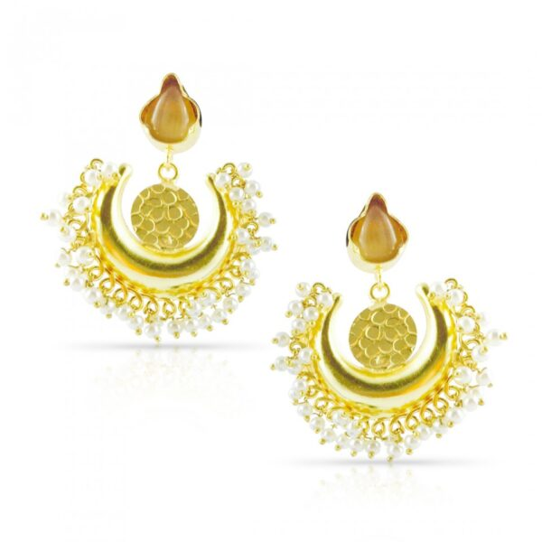 Golden Pearl with stone Chand Shaped Earrings