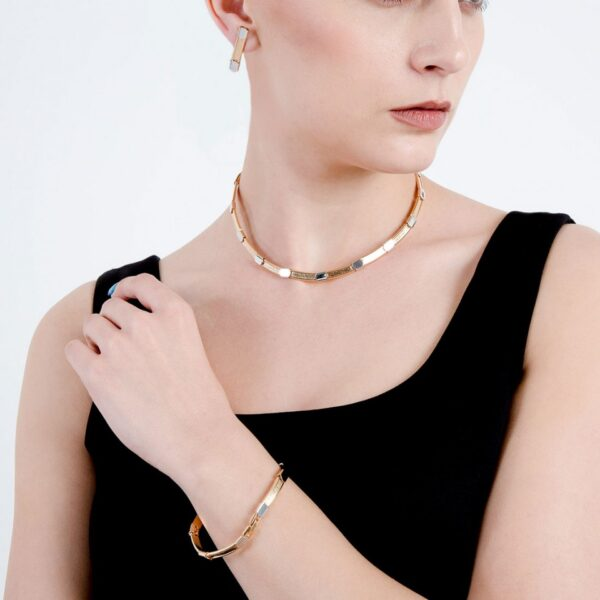 Golden Silver Fusion Plated Necklace Set with Bracelet