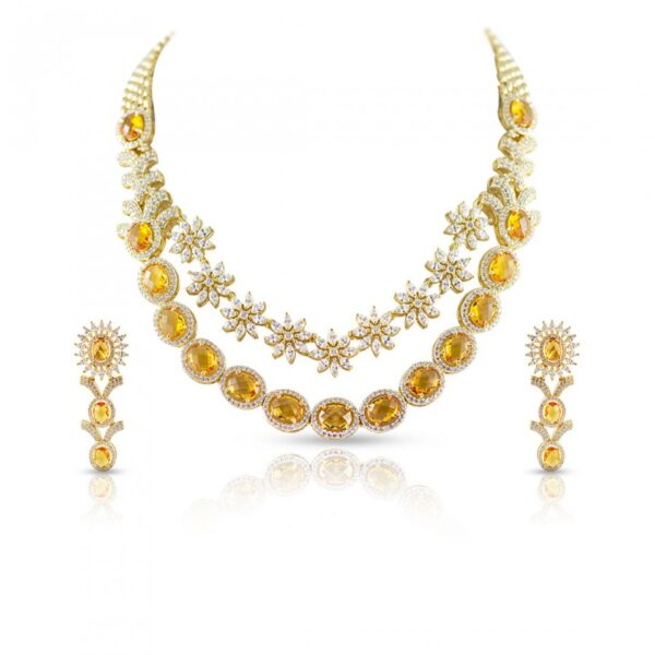 Golden Stone & AD Twin Layer Necklace with long Earrings