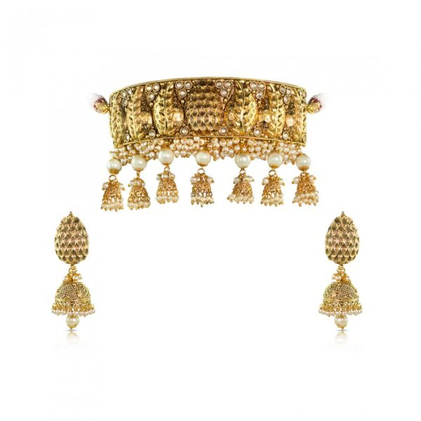 Golden designer pearl jhumki necklace with Earrings
