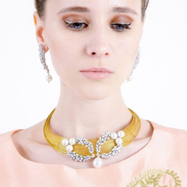 Golden multi layered Band Necklace