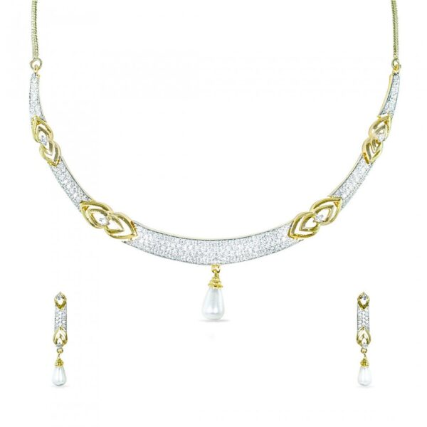 Hasli style American Diamond studded Necklace with a pearl droplet