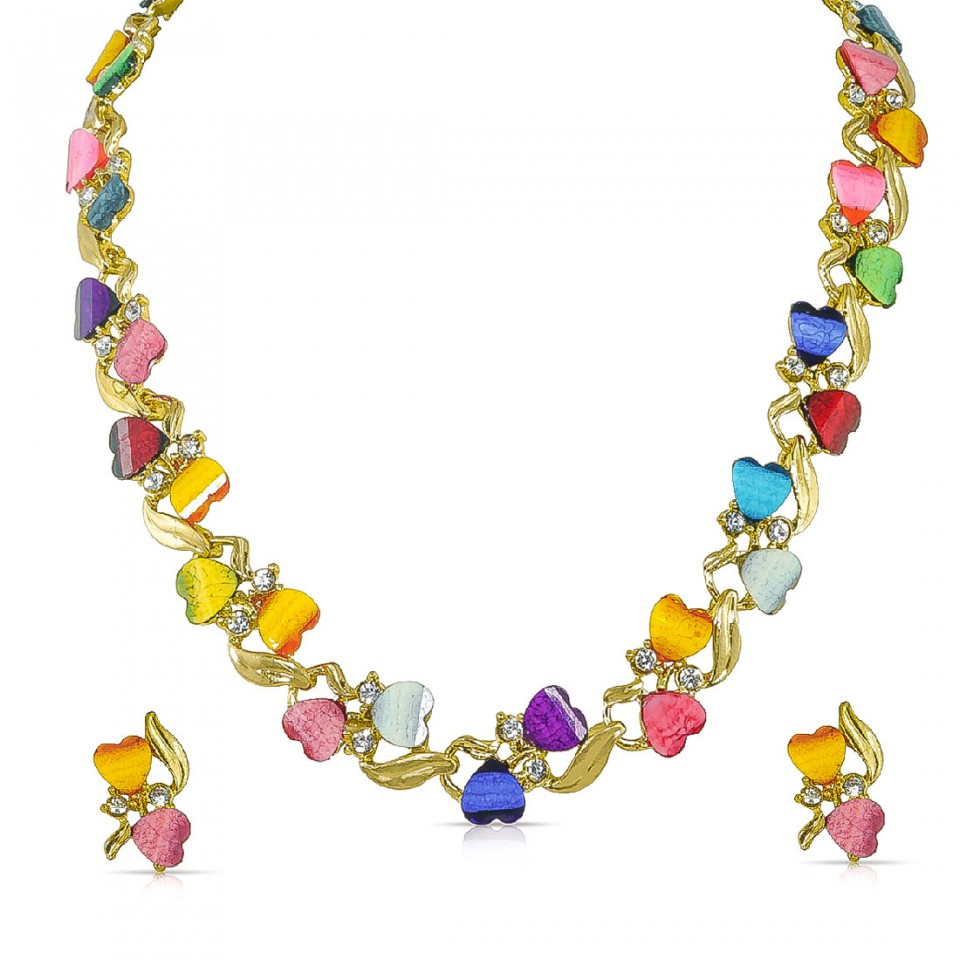 Heart Shape Multi Color Resin Beads 18K Gold -Silver Plated African Set