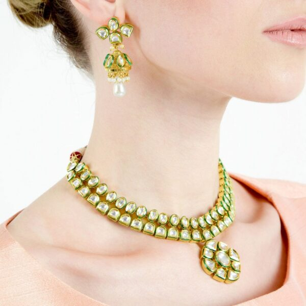 Kundan Double Cord Necklace With Jhumkies