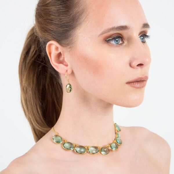 Light Green Hydrolite Studded Brass Necklace with Earrings