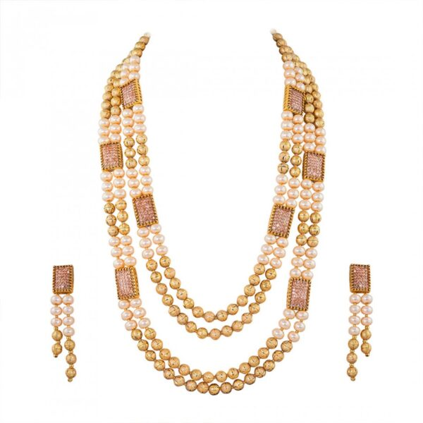 Long Golden & Off white Pearl Necklace Studded with AD