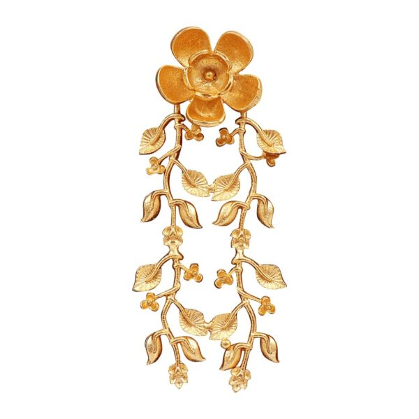 Long Matt golden colored floral earrings with hanging leaves
