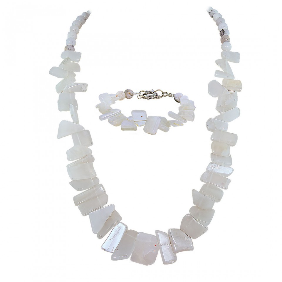 Moonstone Beads Long Necklace with Bracelet