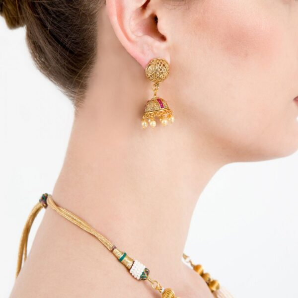Multi Pearl Strings Double Layered Necklace with Jhumki Earrings