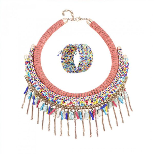 Multi colored Pink Choker Necklace with Bracelet