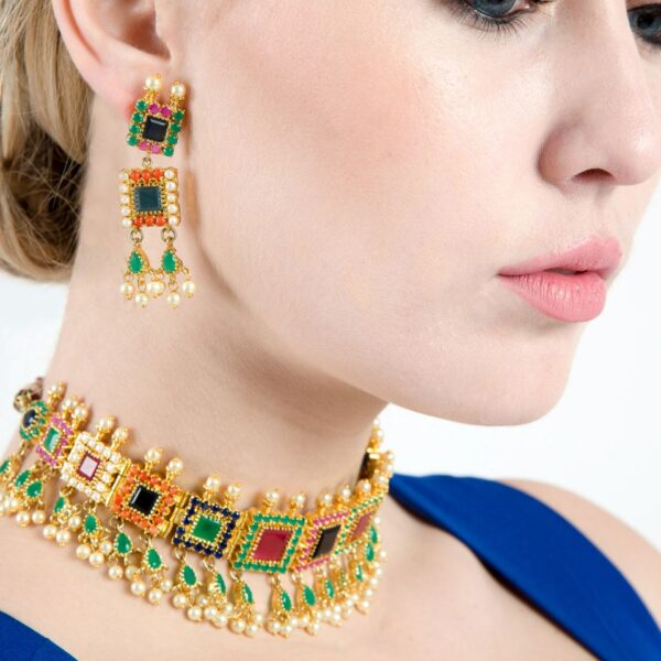 Multi colored Semi Precious Stones & Pearl Choker Necklace with Earrings