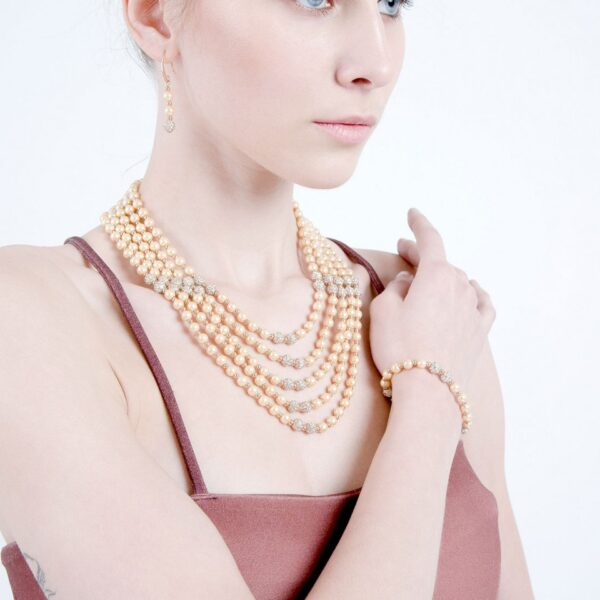 Multi layered Pearl & Ad studded Long Necklace With Earrings & Bracelet