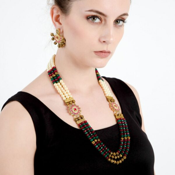 Pearl Stone Long Floral Necklace with earrings