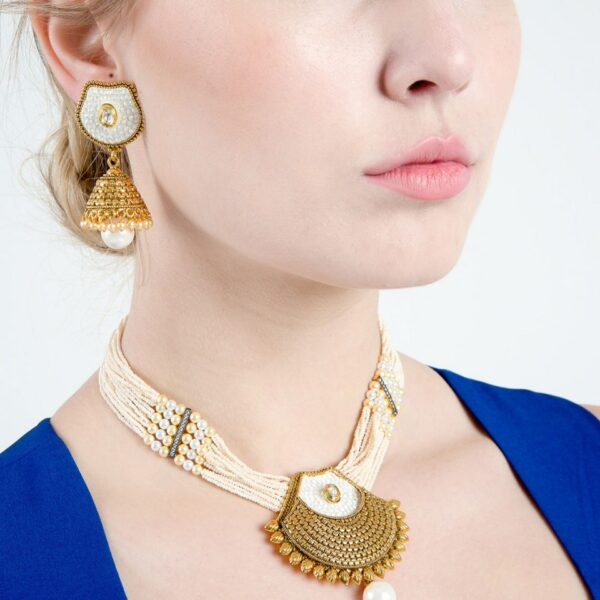 Pearl with Kundan on white base Choker Necklace with Earrings