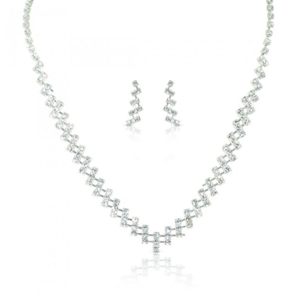 Platinum plated Zircon String Necklace with Earrings