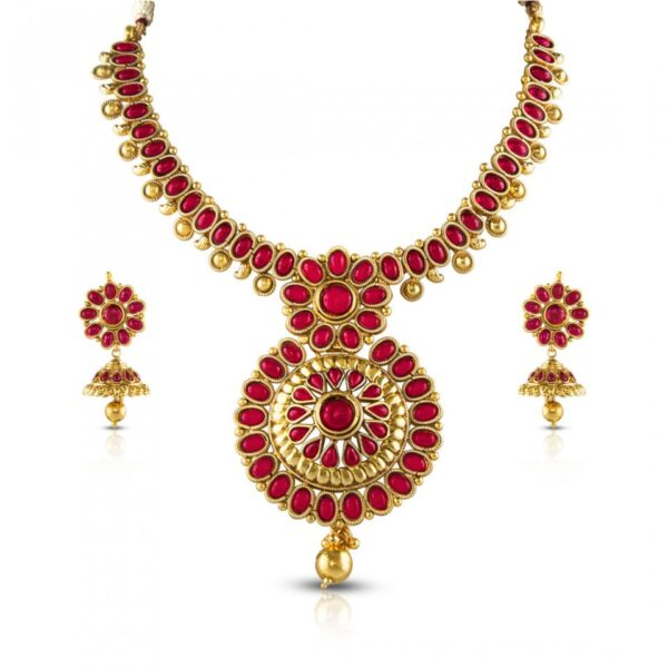 Red stone Golden length with Earrings