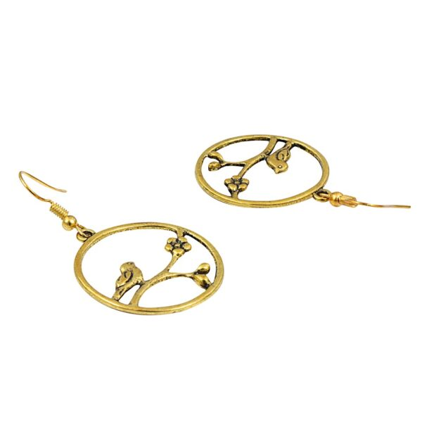 Short Golden color plated circular Earrings with Nature design