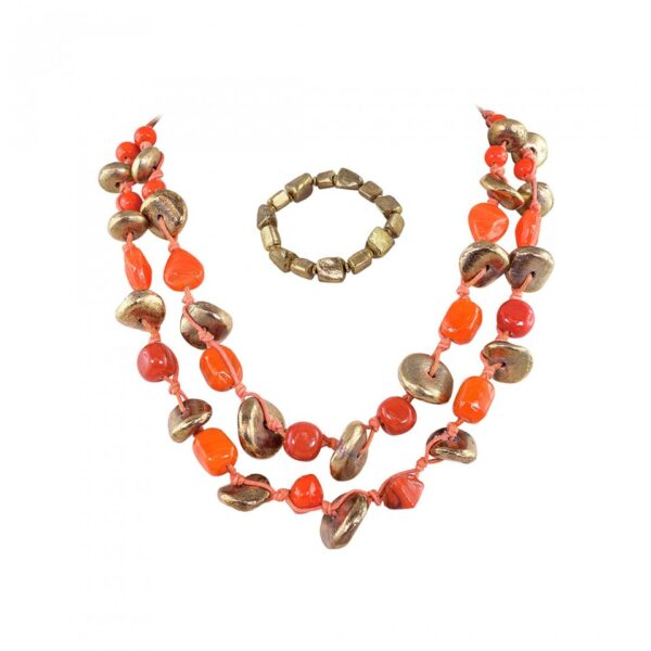 Short Thread Beads and Brass chunk Necklace with Bracelet