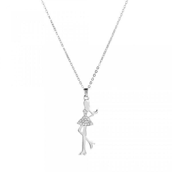 Silver Colored Girl like Pendant Necklace
