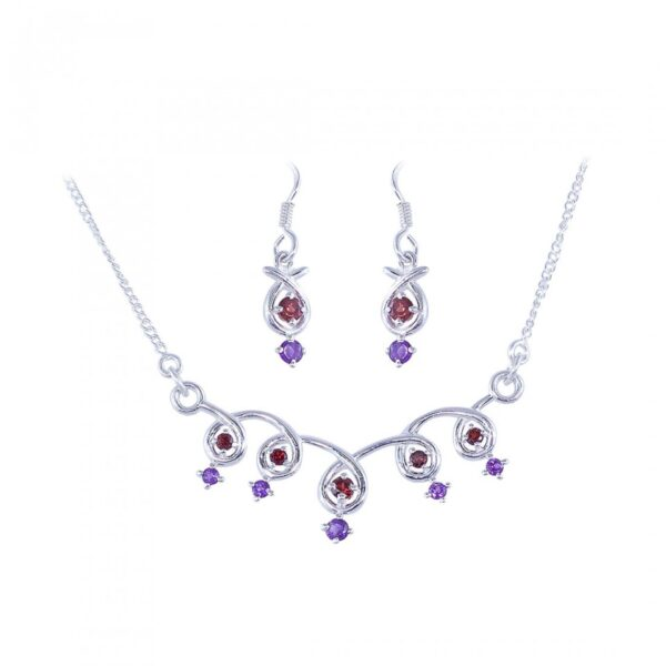 Spiral Design Zercon studded Sterling Silver Necklace with Earrings