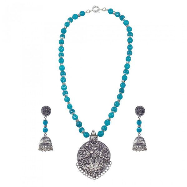 Turq Blue Jade Long String Necklace with Oval Silver Pendant with Idol and Jhumkas in Silver Oxidized Metal