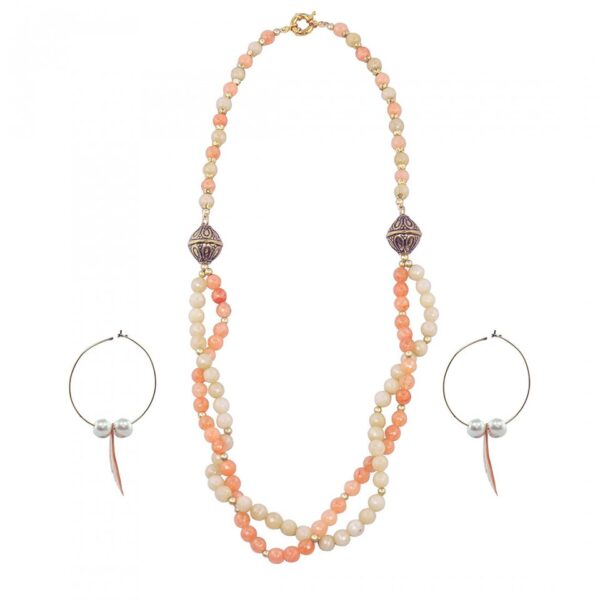 Twisted Double String in Peach and Beige Cut Glass Gemstone necklace with Hoop Earrings