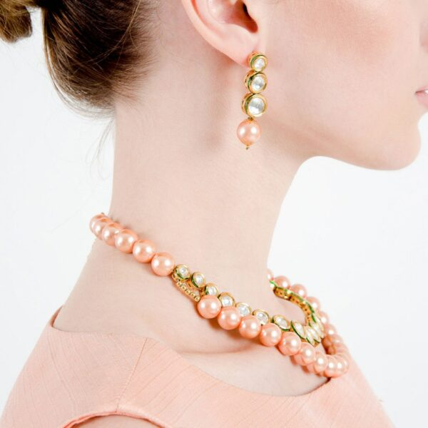 Two Layer Pink Pearl with Kundan
