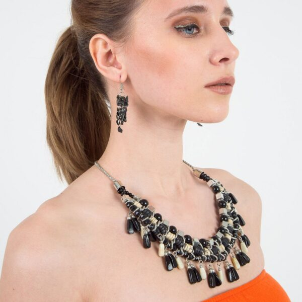 White and Black intermingled Beads Necklace with Earrings