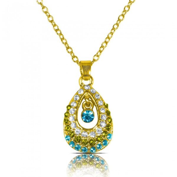 AD studded Oval Droplet Pendant